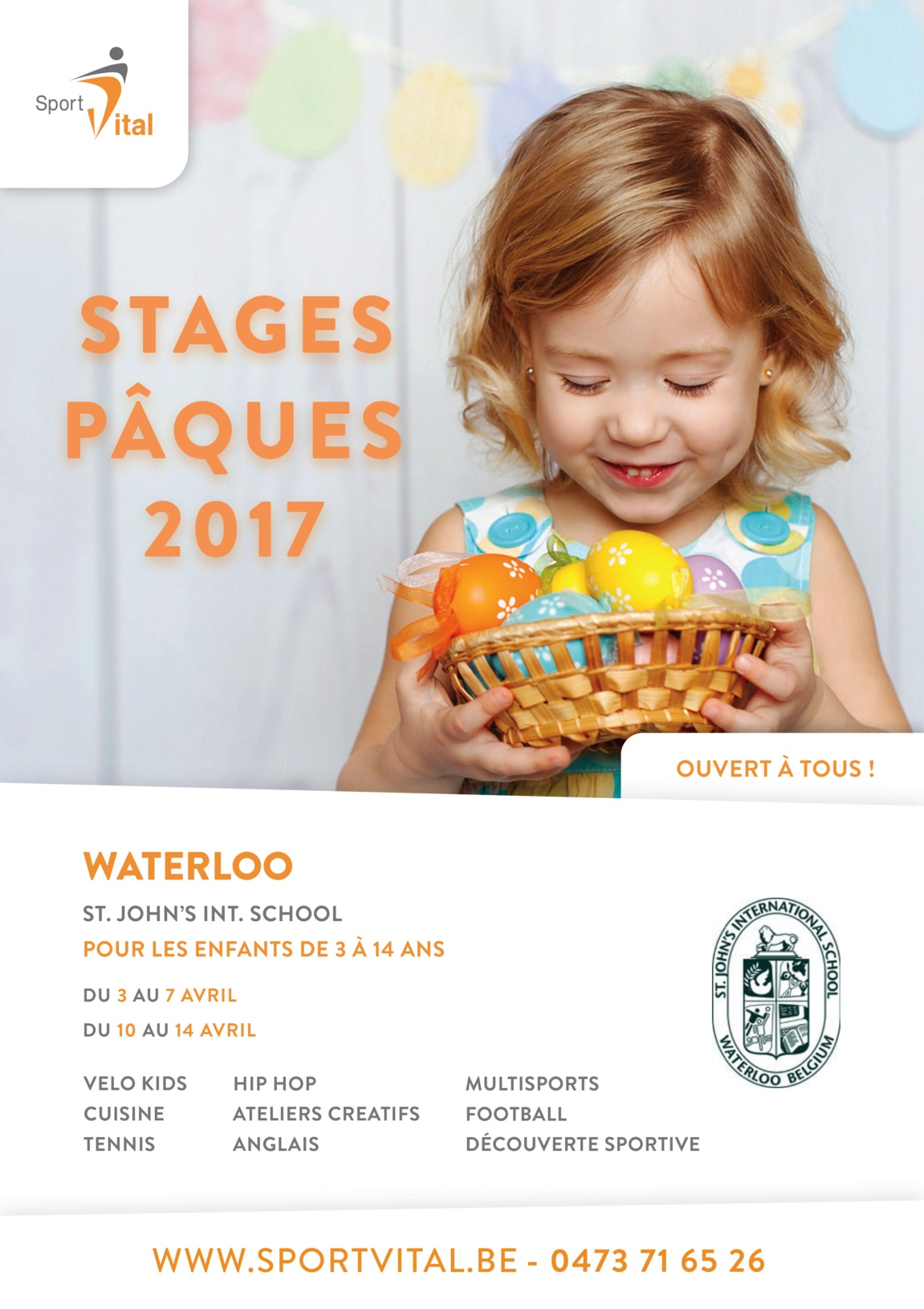 Stages pour enfants à Waterloo, Pâques 2017 : Ouvert à tous !