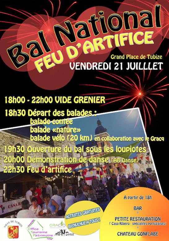 21 juillet à Tubize, Bal national et feu d'artifice.