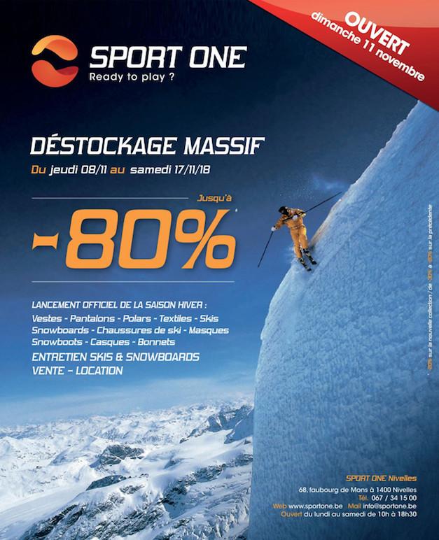 Notre partenaire Sport One vous invite à son DESTOCKAGE MASSIF (Jusque -80%)