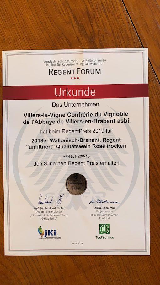 Le Regent rosé de Villers-la-Vigne a décroché une bien belle nouvelle médaille d'argent au Concours international du Regent en Allemagne