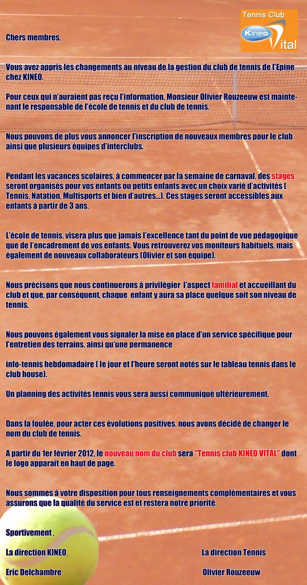 Message du Tennis club de Limelette !