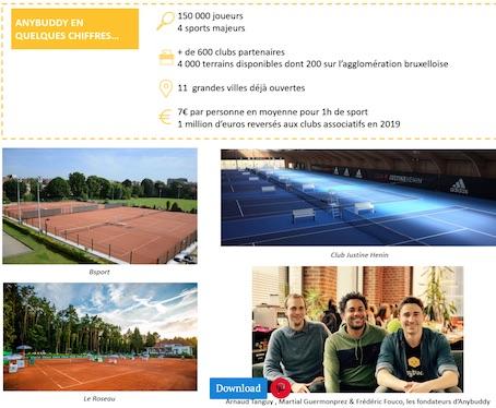 Anybuddy, l'appli qui révolutionne la pratique du tennis débarque dans le Brabant wallon !