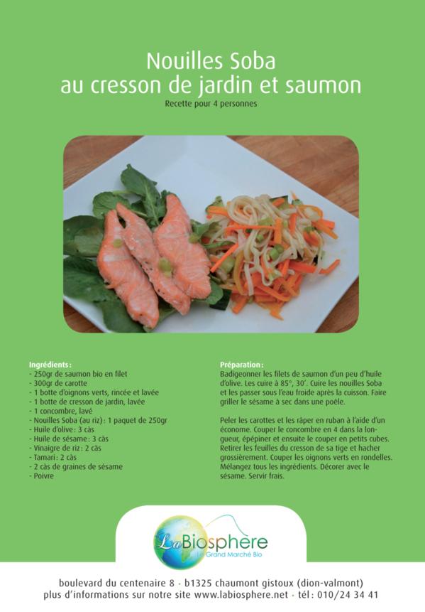 Nouilles Soba au cresson de jardin et saumon