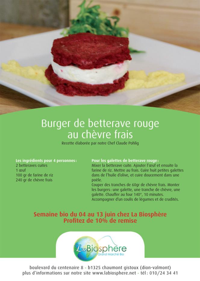 Burger de betterave rouge au chèvre frais
