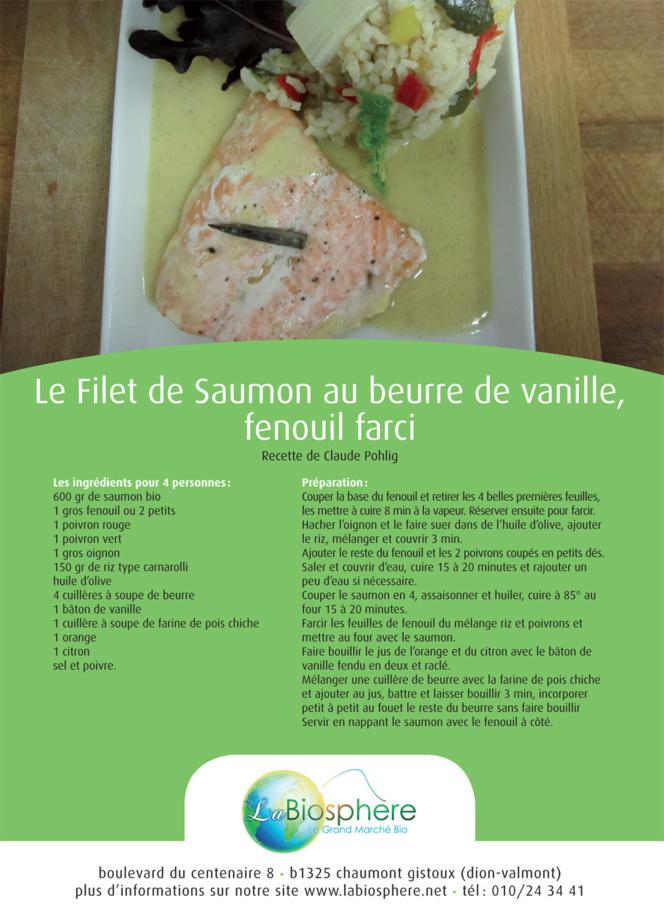 Le Filet de Saumon au beurre de vanille, fenouil farci