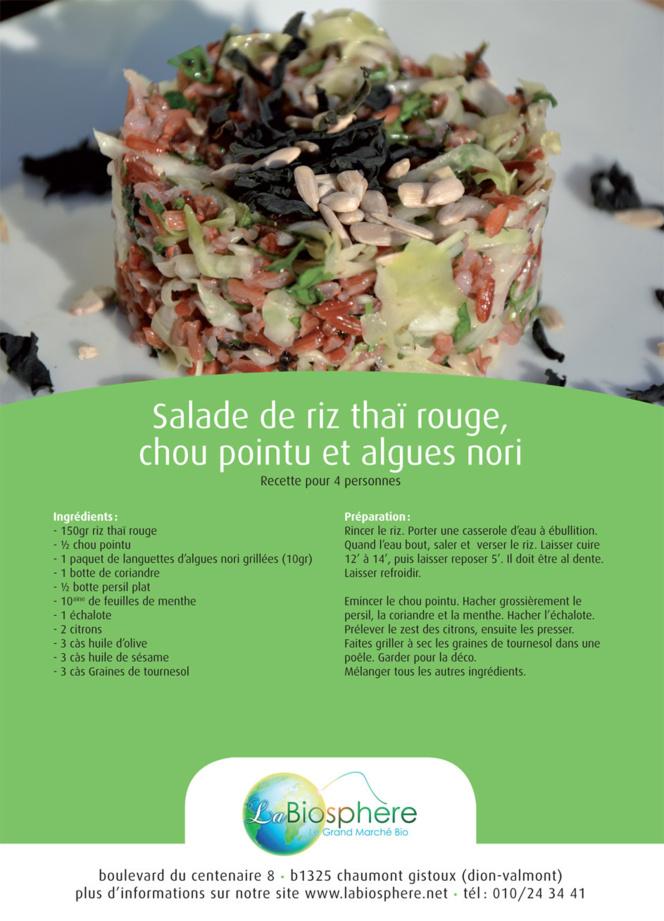 Salade de riz thaï rouge, chou pointu et algues nori