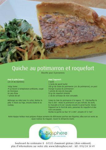 Quiche au potimarron et roquefort
