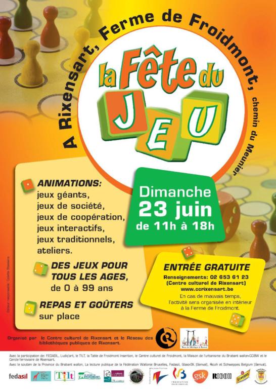 LA FÊTE DU JEU (Rixensart) - Le dimanche 23 juin 2013 de 11H À 18H