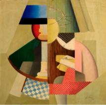 Marthe Donas, Sous la lampe, 1927, huile sur toile, collection privée.