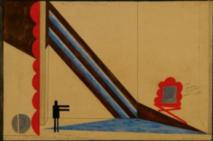 Jean-Jacques Gailliard, Au pied du mur (projet de décor-pièce d'Aragon jouée au Théâtre de l'Assaut d'Albert Lepage), 1925, gouache/papier, collection privée.