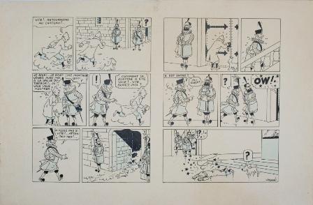 Double planche de la version noir et blanc  du Sceptre d'Ottokar (1939), reprend donc un moment crucial de l'histoire, celui où Tintin se précipite au château pour vérifier le bien-fondé de sa découverte. Encre de Chine noire, gouache blanche pour les remords et effets lumineux, rehauts d'aquarelle bleue pour les aplats, sur papier à dessin.