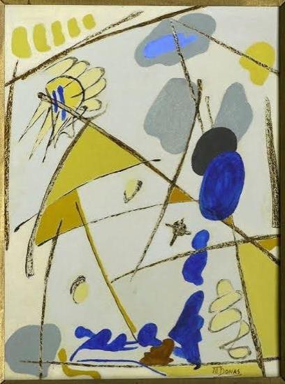 -Marthe Donas  - « Intuition L » - 1957- huile sur carton- 42 x 33 cm- Collection privée.