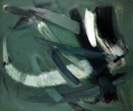 -Berthe  Dubail - « Crescendo »- 1964- huile sur toile- 70 x 85 cm- Collection Ginette Blondiaux.