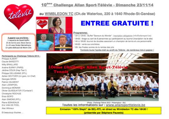 Le Challenge de tennis Allan Sport au profit du Télévie !