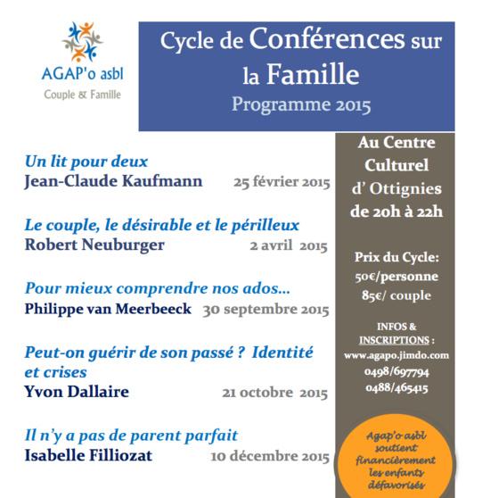 Découvrez le Programme 2015 des Conférences de l'asbl Agap'O