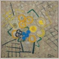 •Marthe DONAS, Fleurs et raisins, 1956, Huile sur panneau d'unalit, 44 x 44 cm, Musée Marthe Donas
