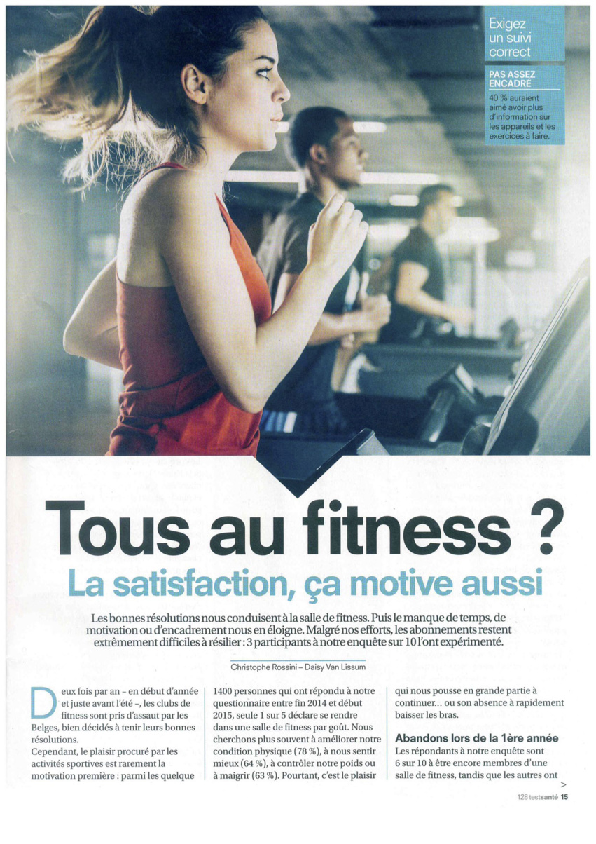 Communiqué de Presse / Enquête de Test-achats sur les clubs de Fitness.