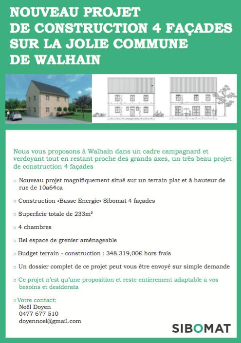 NOUVEAU PROJET DE CONSTRUCTION 4 FAÇADES SUR LA JOLIE COMMUNE DE WALHAIN !
