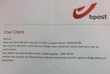 "Attention ARNAQUE ! La police du Brabant wallon nous informe d'un FAUX E-MAIL AU NOM DE ""BPOST"""
