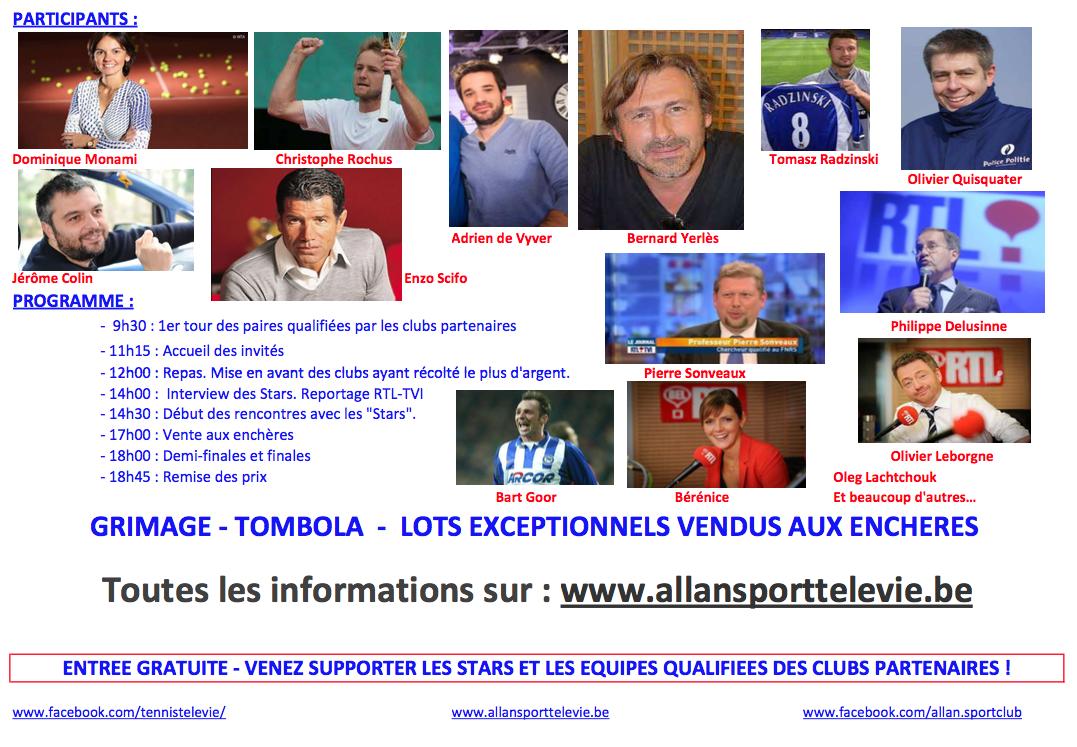 "11ème ""Stars Tennis Télévie"" au Waterloo TC"