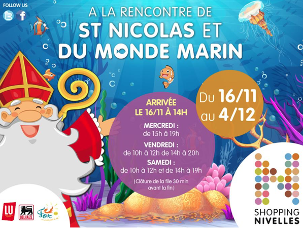 Il arrive....! Le 16 novembre 2016, Saint Nicolas fera son apparition dès 14h en galerie côté Delhaize à Nivelles.