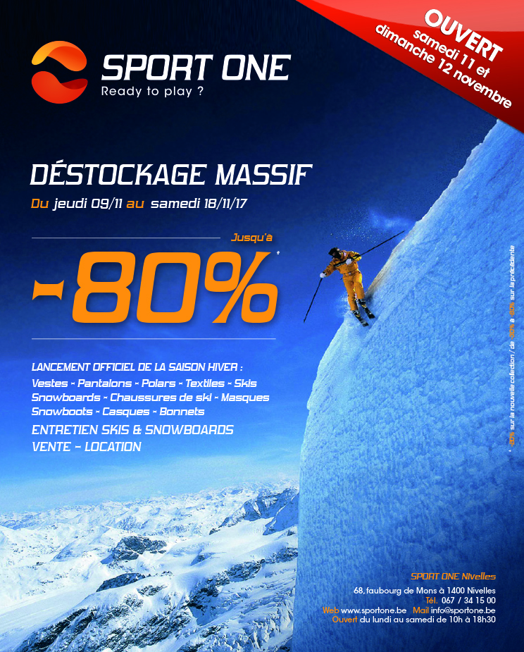 Grand Destockage de Novembre chez Sport One à NIVELLES !