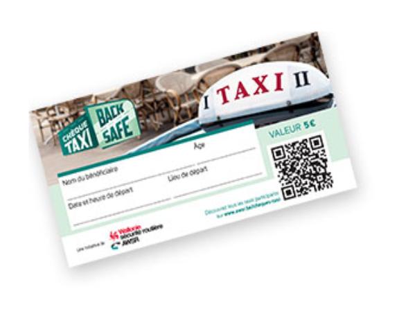 Taxi à moitié prix avec les chèques BackSafe