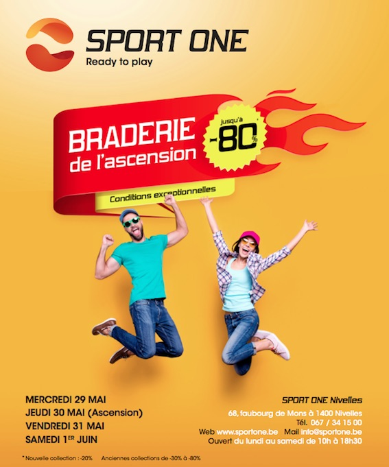Braderie de l'Ascension chez SPORT ONE - Nivelles