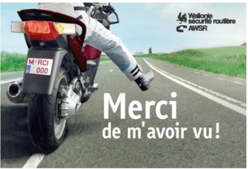 « MERCI DE M'AVOIR VU ! » : la nouvelle campagne de l'AWSR sensibilise à la présence accrue de motards en Wallonie