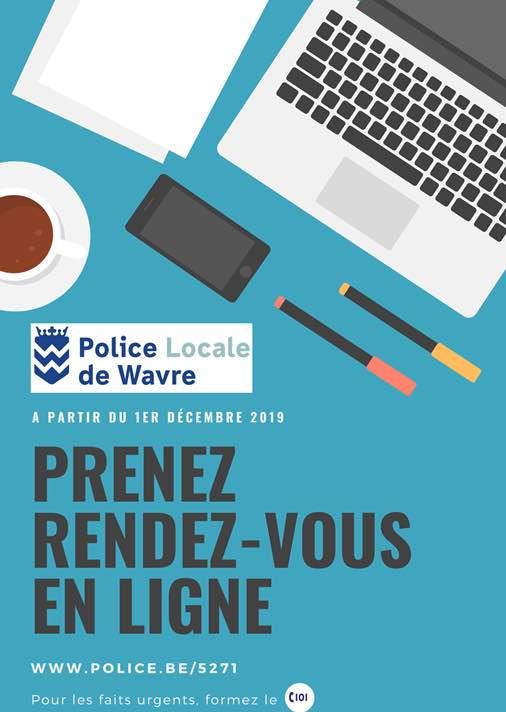 Nouveau à Wavre : Prendre rendez-vous en ligne avec la Police locale
