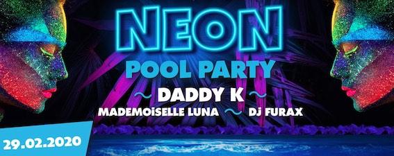Neon Pool Party à Aqualibi le 29 février : une soirée flashy, dansante et gourmande.