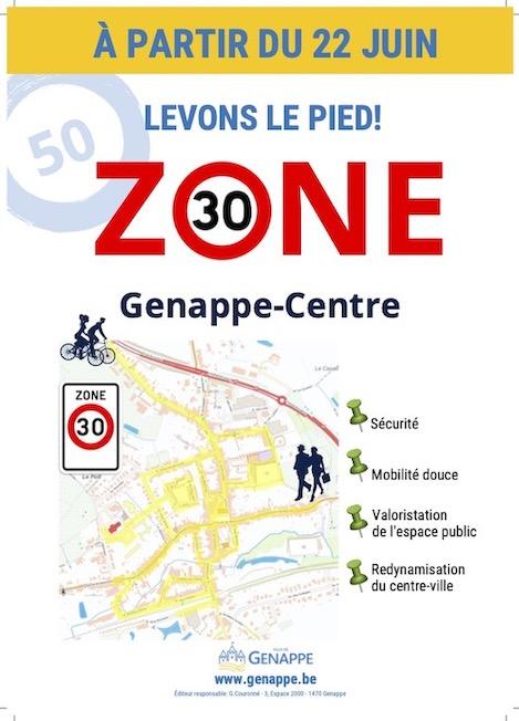 Le centre ville de Genappe en Brabant wallon passe en zone 30