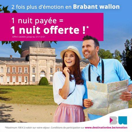Brabant wallon | 1 nuit payée =  1 nuit offerte