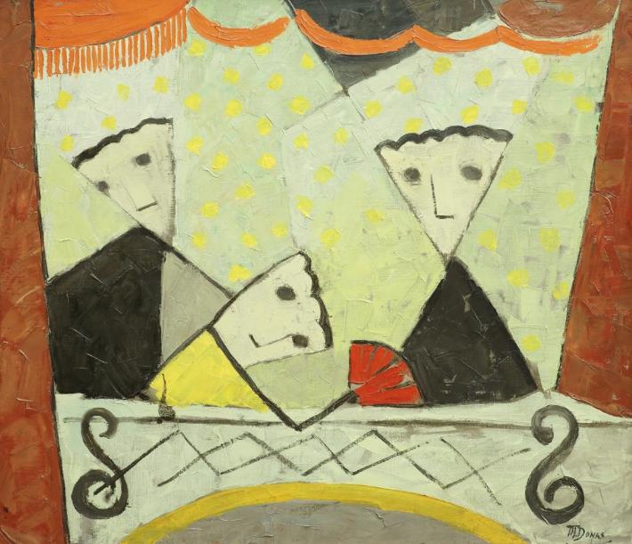 -Marthe Donas  - « La loge » - 1954- huile sur toile- 70 x 80 cm- Collection privée.
