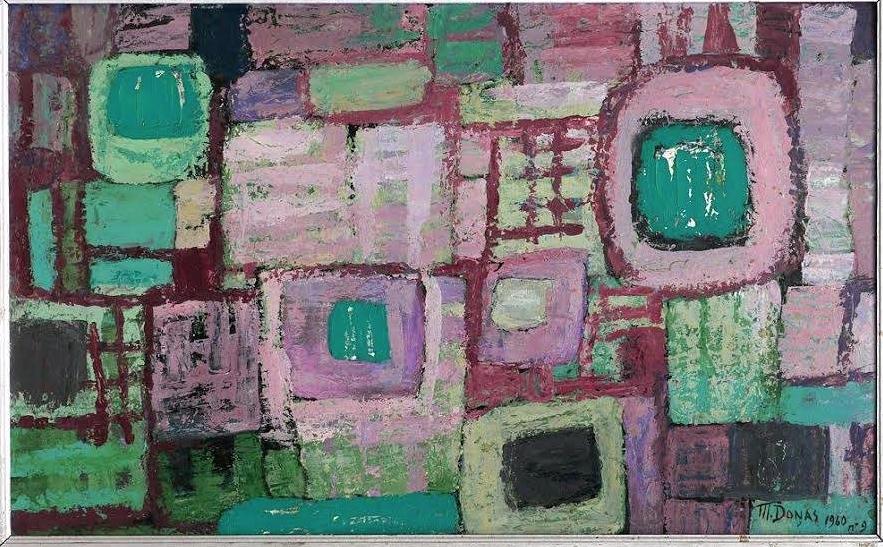 -Marthe Donas  - « Abstraction n°9» - 1960- huile sur panneau- 44,5 x 72 cm- Collection privée.