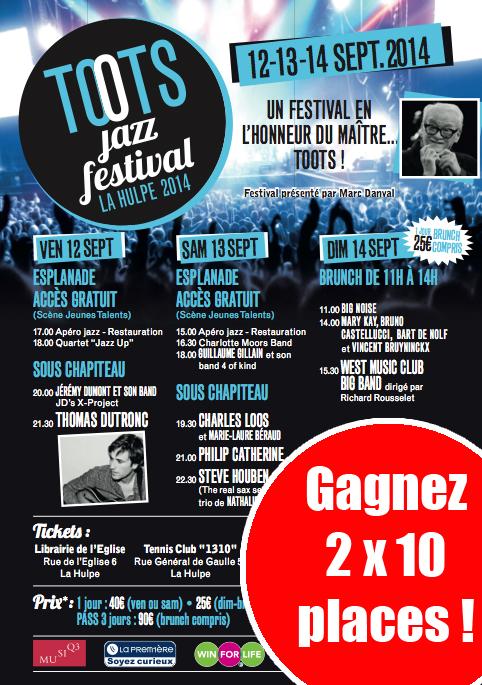 CONCOURS TOOTS JAZZ FESTIVAL (La Hulpe, 10x2 places à gagner, valeur 10 x 80 euros)