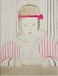 •Marthe Donas, La jeune fille au ruban rouge, 1922, Huile sur toile, 65  x 50 cm, Musée Marthe Donas