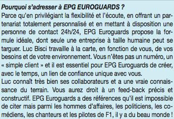 EPG Eurogards : Le gardiennage au service des particuliers .