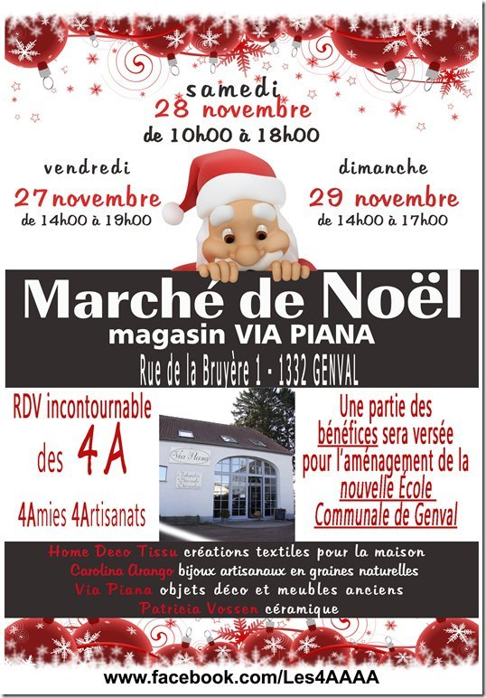 Marché de Noël le 27, 28 et 29 novembre au magasin Via PIANA à Genval