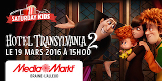 Braine l'Alleud : Inscriptions pour le Saturday Kids du 19/03 – Hotel Transylvania 2