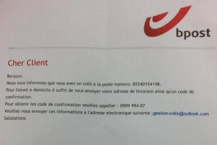 """Attention ARNAQUE ! La police du Brabant wallon nous informe d'un FAUX E-MAIL AU NOM DE """"BPOST"""""""